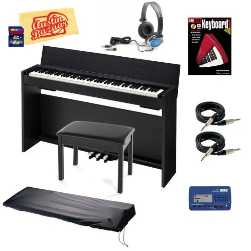 Casio Privia PX-830 Digital Piano Bundle with Bench, Dust Cover, Metronome, 8GB SD Card, Essential Cables Pack, Headphones, Instructional Book, and Polishing Cloth - Black