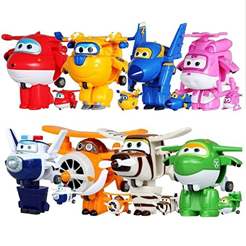 8pcs/set Super Wings Mini Planes Toys Deformation Airplane Robot Action Figures Boys&Girls Birthday Gift Brinquedos