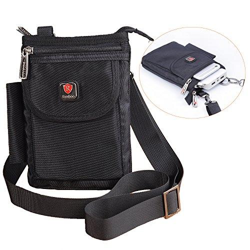 タクティカル モールポーチ ベルトフープ付き、男性用小型肩掛けトラベルバッグ、iPhone 6S plus/Samusng Galaxy Note/S7 対応ホルスター、ウォレット財布、ウエスト携帯バッグ ブラック