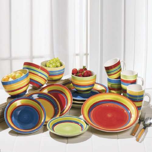 BrylaneHome Santa Fe Hand-Painted Striped Stoneware Dinnerware (MULTI STRIPE,0)