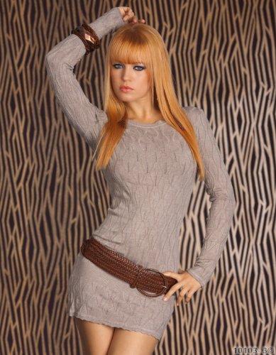 Minikleid Langarmshirt aus feinem weichen Strick beige