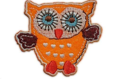 Eule 6,5 cm * 5,7 cm BÜGELBILD AUFNÄHER APPLIKATION Kinder gelb orange bunt blau Uhu Kauz Schleiereule Flügel Vogel Eulen Owl Patch