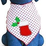 Red Stocking Christmas Holiday Dog Bandana Kerchief (Large)