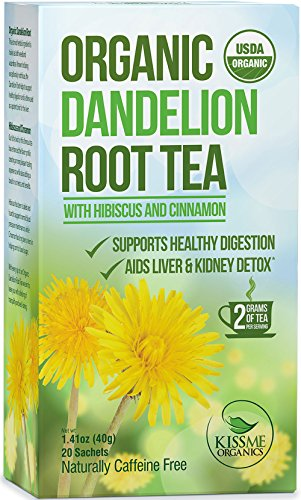 Kiss Me Organics - Organic Dandelion Root Tea - 100 Tea Bag Value Pack - USDA Organic - Supports Healthy Digestion - Aids in Liver & Kidney Detoxification - TWO HEAPING GRAMS PER TEA BAG- 20-Count Boxes (Pack of 5)