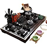 ufengke®Wood Tea Tray Ceramic Kung Fu Tea Set Tea Service-Black