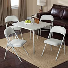Meco Meco Sudden Comfort Deluxe Double Padded Chair and Back- 5 Piece Card Table Set - Grey Dream, 34L x 34W x 28H in. (Table), Grey Dream, 34L x 34W x 28H in.