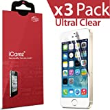 iCarez® [HD Clear] Highest Quality Premium Screen protector for Apple iPhone 5 / iPhone 5S / iPhone 5C Highest Quality Premium High Definition Ultra Clear & Anti Bacterial & Anti-Oil & Anti Scratch & Bubble free & Reduce Fingerprint & No rainbow & washable Screen Protector **PET Film Made in Japan** Easy install & Green healthy Product with Lifetime Replacement Warranty [3-Pack] - Retail Packaging 2013 (1 month promotion)
