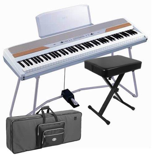 Korg SP-250WT White Digital Piano STAGE BUNDLE w/ Keyboard Case, Bench