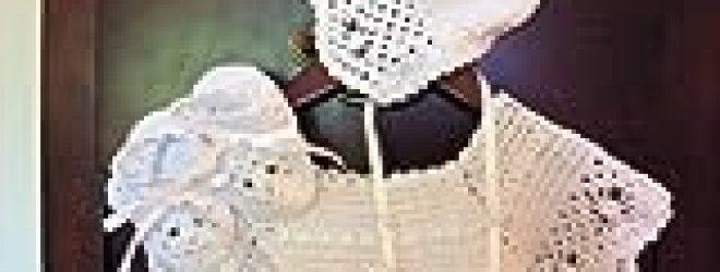 Hand Crocheted Heirloom Christening Set – Gown Bonnet Booties