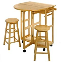 Space Saver Drop Leaf Table With 2 Round Stools