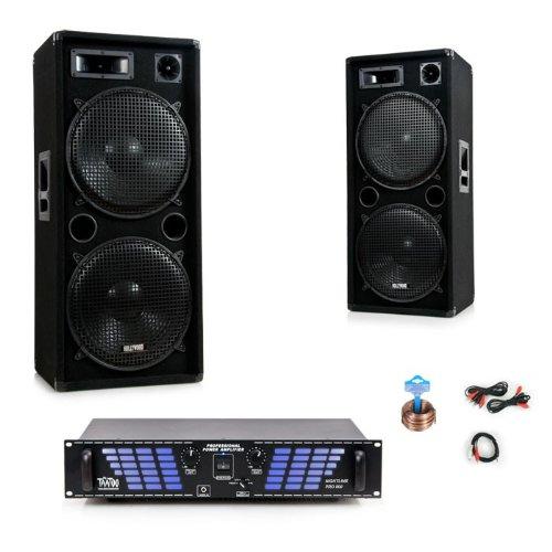 3000W PA Anlage Boxen Verstärker Lautsprecher Endstufe Party Kabelset DJ-722