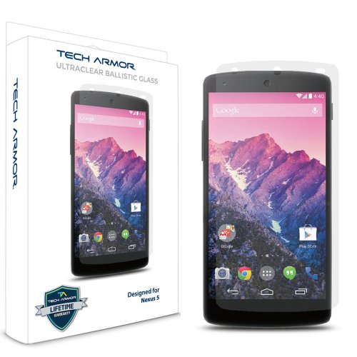 Tech Armor Nexus5 ガラスフィルム Premium Ballistic Glass 9H 強化ガラス 耐衝撃 液晶保護フィルム スクリーンプロテクター for Google Nexus 5 ( 保護フィルム 1枚入り ) 透過率 99.99% ガラス