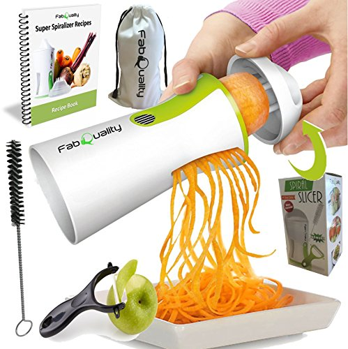 51fJoPi0ghL - BEST BUY #1 FabQuality No1 Best Seller Premium Vegetable Spiralizer SEICAL OFFER 1 DAY ONLY Veggetti Spiral Slicer Complete Bundle - BONUS FREE Vegetable Cutter - Zucchini Pasta Noodle Spaghetti IMPROVED Spiralizer Spiral Slicer Maker Spiraliser