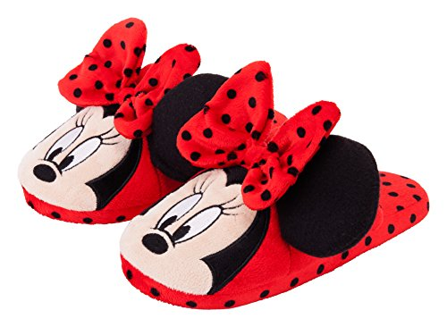 Disney Women's Minnie 3D Slipper (Red, M)