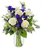 Mother's Day Special Classic Violet Lisianthus and Roses - With Vase