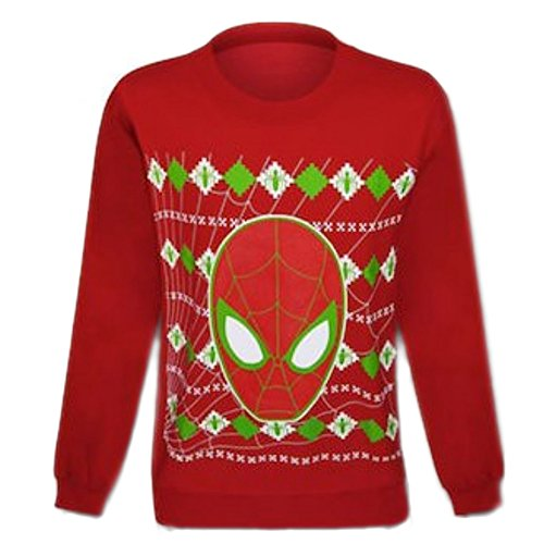 Mighty Fine Spiderman In Web Men's Red Christmas Ugly Sweater (MEDIUM)