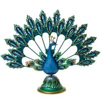 Metal and Glass Peacock Candle Holder : Peacock