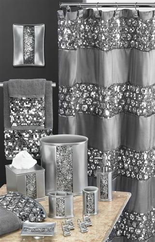 bling bathroom accessories sets New Sinatra Silver Special Bathroom Total Set Curtain