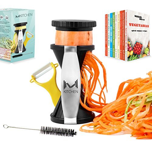 mKitchen Spiral Slicer Spiralizer Complete Bundle-9 Recipe eBooks-Vegetable Cutter-Zucchini Pasta Noodle Spaghetti Maker with Vegetable Peeler and Cleaning Brush