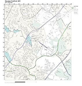 Amazon.com: ZIP Code Wall Map of Savage-Guilford, MD ZIP
