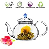 Blooming Tea Glass Teapot with Infuser Blue Juliet, 20oz/590ml Non-drip Lead Free Glass