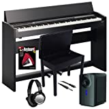 Roland Black F-120 Digital Piano BUNDLE+ w/ Subwoofer & Wood Bench