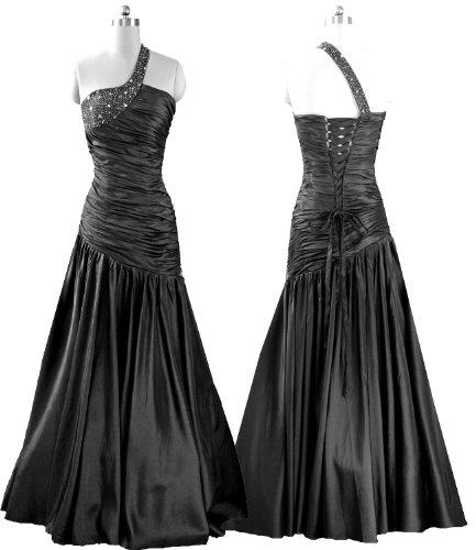 Qpid Showgirl langes Abendkleid mit asymmetrischem Design mit Einzel-Schulterriemen, Farbe schwarz, 5251TL (38, schwarz)