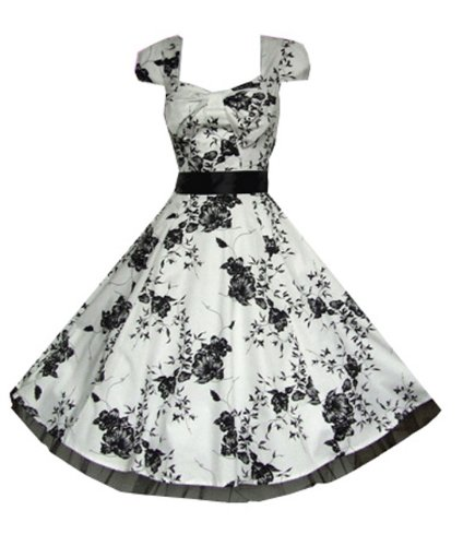 Pretty Kitty Fashion 50s Weiß Schwarz Blumen Cocktail Tee Kleid