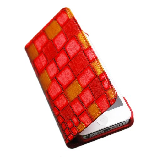 modaMania 【 iPhone 5s / 5 】 本革 イタリアンレザー モザイク クロコ 型押し 手帳型 ケース 1CR (レッド)