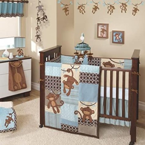Lambs & Ivy Giggles 5 Piece Boy's Crib Bedding Set