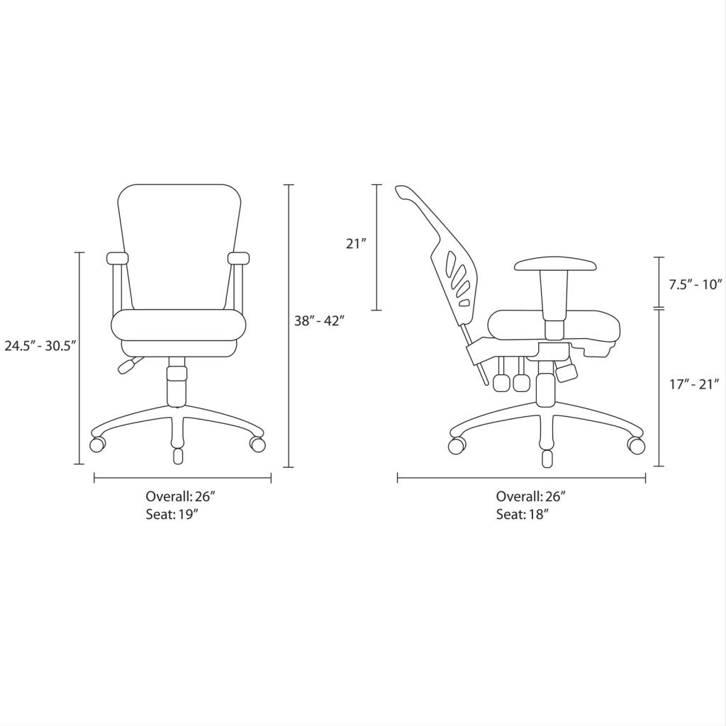 office chair dimensions couch arm covers amazon lexmod articulate black mesh