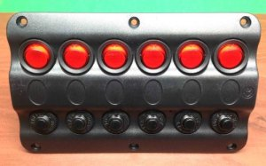 Pactrade Marine Boat IP65 Switch Panel 6 Gang LED Switches