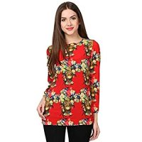 Cladien (Since 1958) Red Printed Designer Top For Women