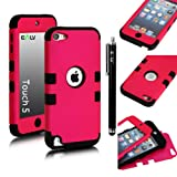 E-LV Two Tone Hard and Soft Hybrid Armor Combo Case for Apple iPod Touch 5 5th Generation with 1 Free Screen Protector, 1 Black Stylus and 1 E-LV Microfiber Digital Cleaner (Hot pink with Black)