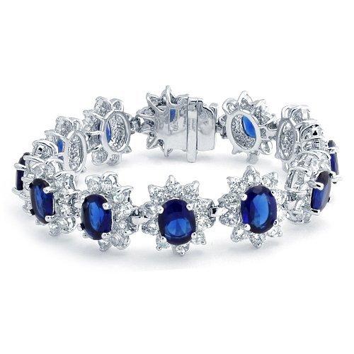 Blue Sapphire Bracelet Princess Diana Inspired CZ Crown