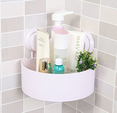 Rainbow Love Strong Sucker Tripod Triangle Bathroom Corner Shelving Shelf Storage Racks for Bathroom Toilet Kitchen White