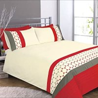 Eclips Red Grey Cream Embroidered Circles Double Duvet