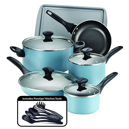 Farberware 15 Piece Dishwasher Safe Nonstick Cookware Set, Aqua