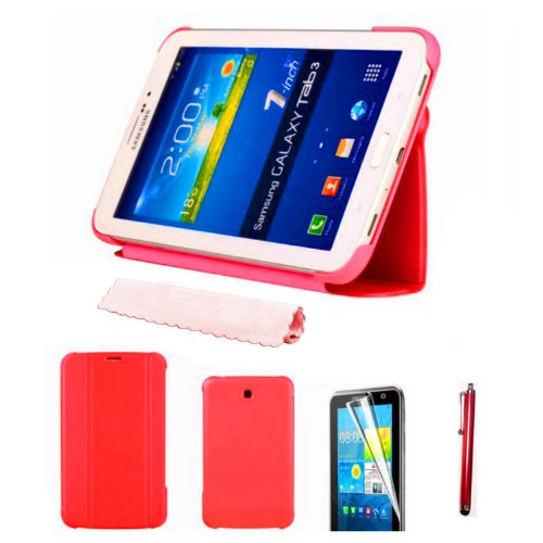 "51hPu5uX5YL - BEST BUY #1 HOTSALEUK Samsung Galaxy Tab 3 7.0 7-inch Leather Case Cover and Flip Stand, Bonus: Screen Protector + Stylus Pen (for Galaxy Tab 3 7"" INCH P3200/ P3210, WiFi or 3G+WiFi), by hotasleuk Store®, Seller of Best Selling Galaxy Tab 2 7-inch Case (RED) Reviews and price"