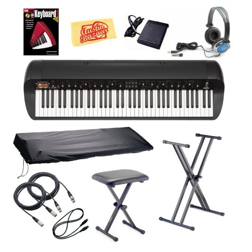 Korg SV-1BK Stage Vintage Piano Bundle with Bench, Stand, Dust Cover, Sustain Pedal, Essential Cables Pack, Headphones, Instructional Book, and Polishing Cloth - Black