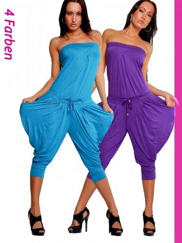 Sexy Damen Bandeau Catsuit Overall Hosenanzug Harem Aladin Style Gr. 36/38/40