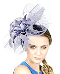 NYfashion101 Glittered Center Rose Jeweled Feather Ruffle Sinamay Fascinator ,Gray