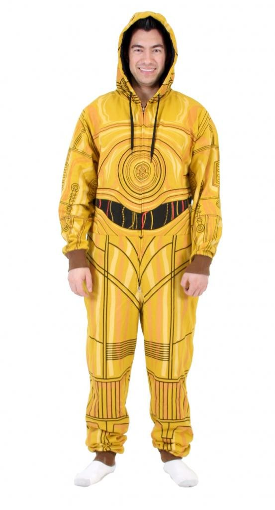 Star Wars Men's C3Po Suit Jumpsuits Onesie Pajamas Cosplay Hooded