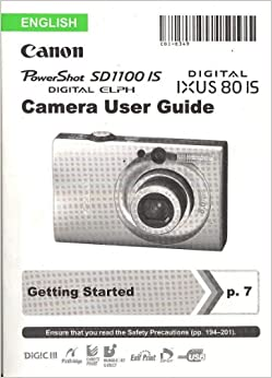 Canon Powershot Sd1100 Is Digital Elph Instruction Manual