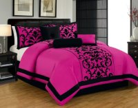 Hot Pink and Black Print Comforter & Bedding Sets for ...