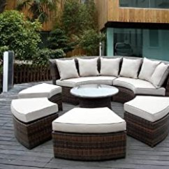 Beige Chair Covers Buy Bistro Style Table And Chairs Amazon.com : Genuine Ohana Outdoor Patio Wicker Furniture 7pc All Weather Round Couch Set With ...
