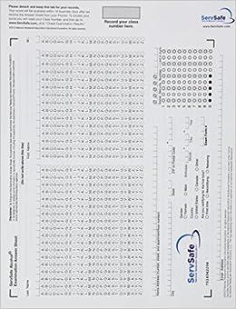 Exam Answer Sheet for ServSafe Alcohol: Fundamentals of