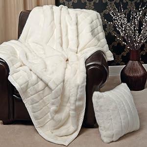 Amazoncom Faux Fur Throw Blanket 58quot x 84quot White Mink