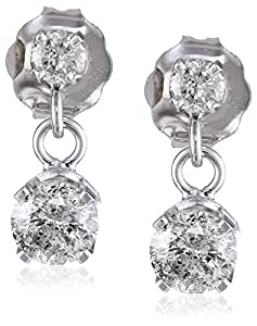 Amazon.com: 14k White Gold 2-Stone Diamond Drop Dangle