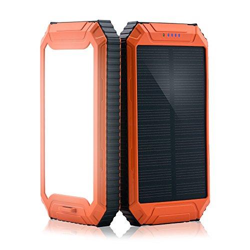 PowerGreen パワーバンク 10000mAh ソーラーチャージャー/パネル 防水 2USBポート iPhoneSamsung等充電可